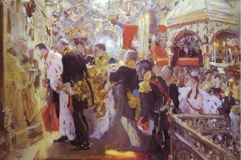 Valentin Serov. Coronation of the Emperor Nicholas II in The Uspensky Cathedral.