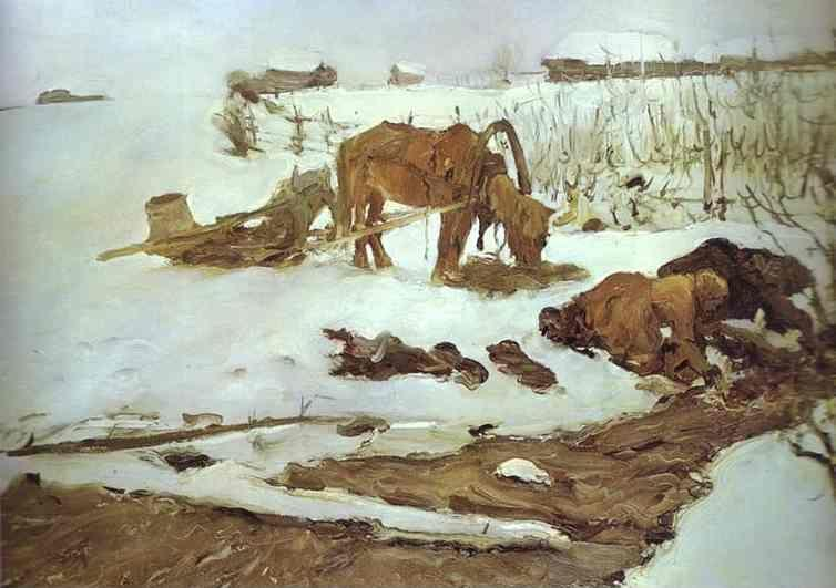 Valentin Serov. Rinsing Linen. On the River.