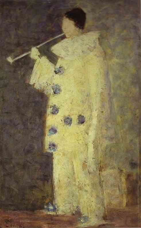 Georges Seurat. Pierrot with a White Pipe. (Aman-Jean).
