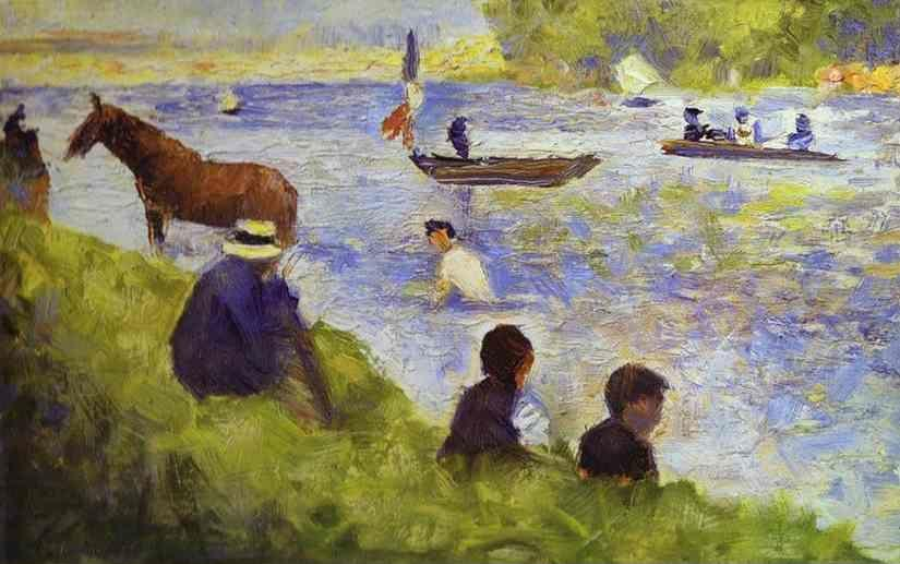 Georges Seurat. Horse and Boat (study for Bathers at Asnières).