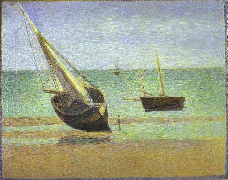 Georges Seurat. Boats. Bateux, maree basse, Grandcamp.