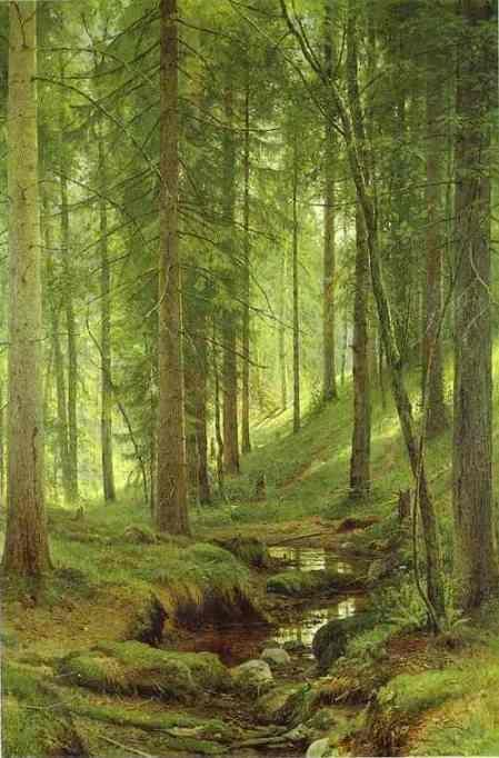 Ivan Shishkin. Stream by a Forest Slope.