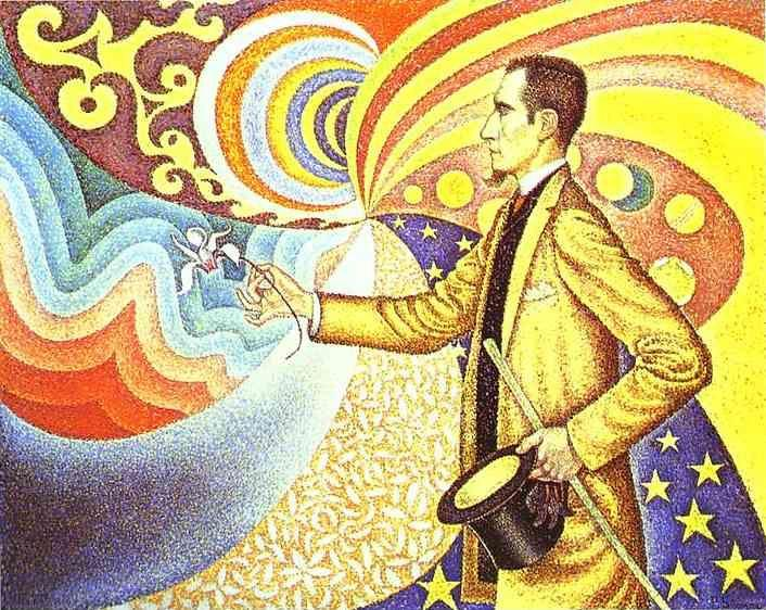 Paul Signac. Portrait of Félix Fénéon in Front of an Enamel of a Rhythmic Background of Measures and Angels, Shades and Colors.