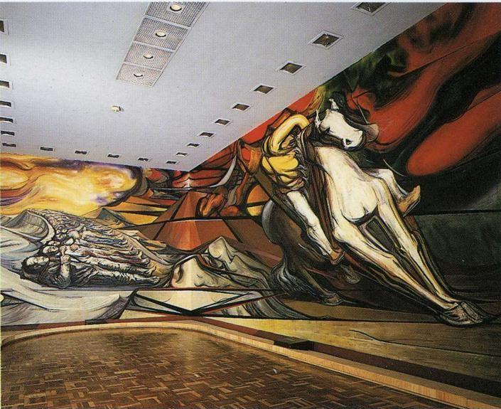 David Alfaro Siqueiros. From the Dictatorship of Porfirio Diaz to the Revolution - The Martyrs and Mounted Revolutionary.