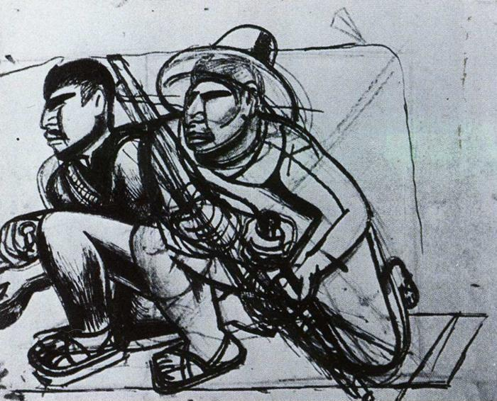 David Alfaro Siqueiros. Guerilla Fighters. Sketch for the mural Tropical America.