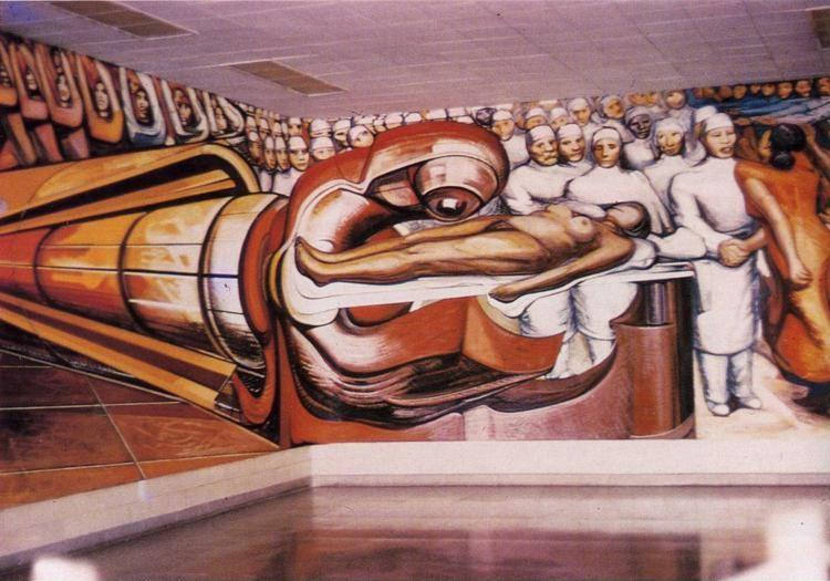 David alfaro siqueiros defense of the future victory of for Definition mural