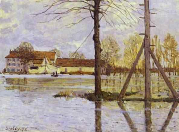 Alfred Sisley. Ferry to the Ile-de-la-Loge - Flood.