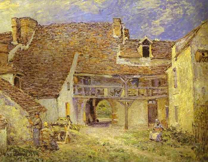 Alfred Sisley. Courtyard of Farm at St. Mammes.