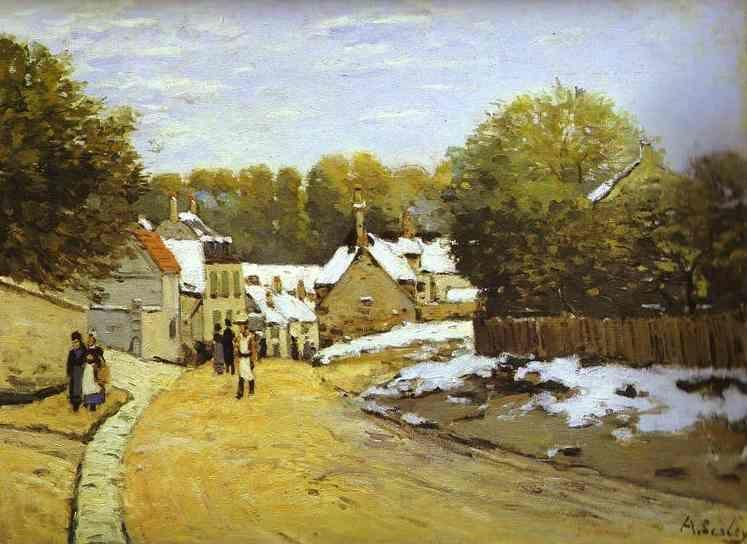 Alfred Sisley. Early Snow at Louveciennes.