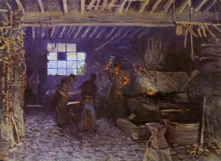Alfred Sisley. The Forge at Marly-le-Roi (Yvelines).