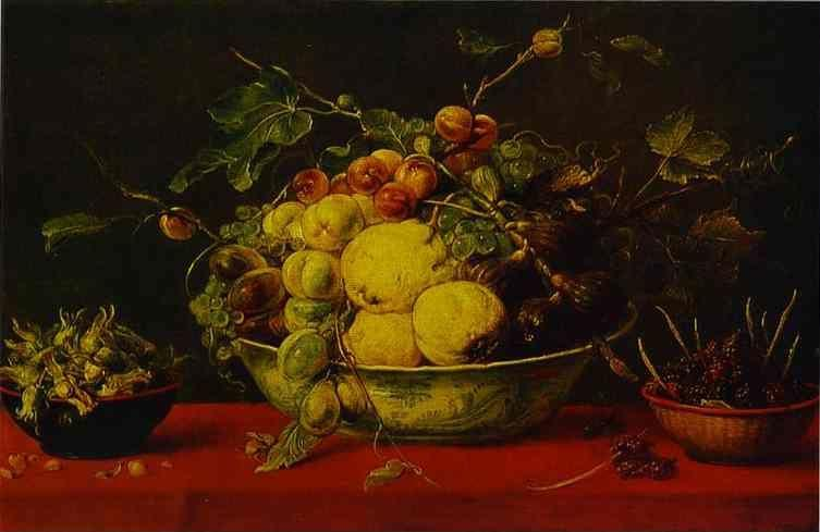 Frans Snyders. Fruits in a Bowl on a Red Tablecloth.