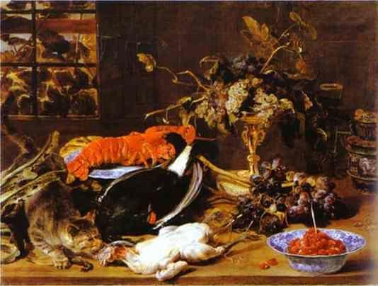 Frans Snyders. Hungry Cat with Still Life.