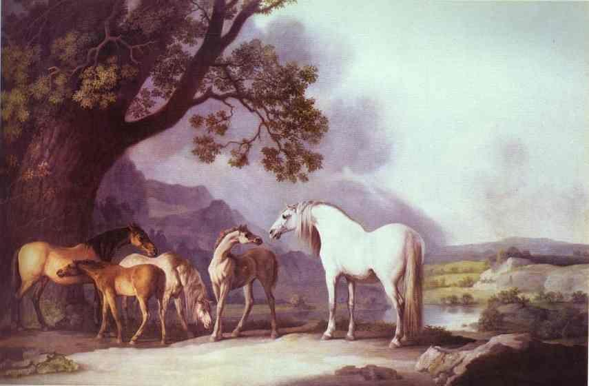 George Stubbs. Mares and Foals in a Mountainous Landscape.