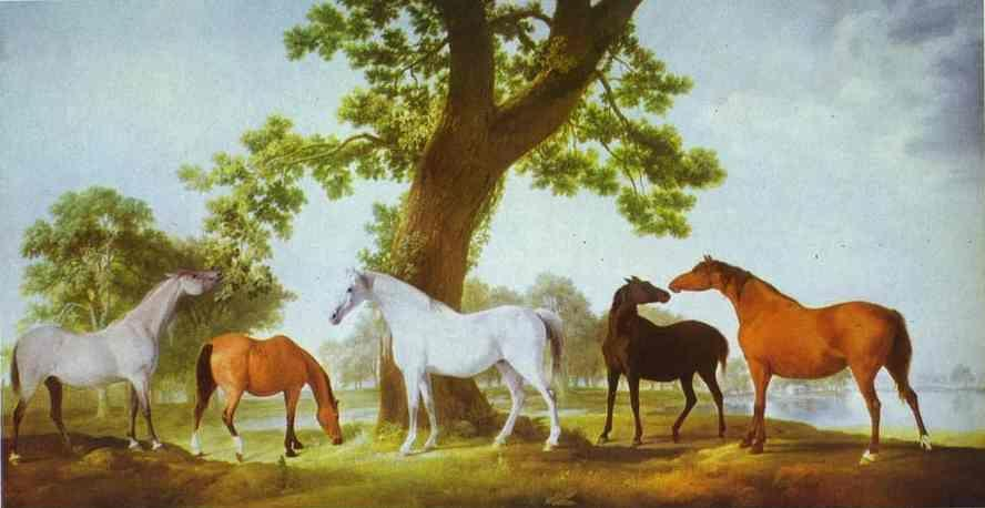 George Stubbs. Mares by an Oak-Tree.