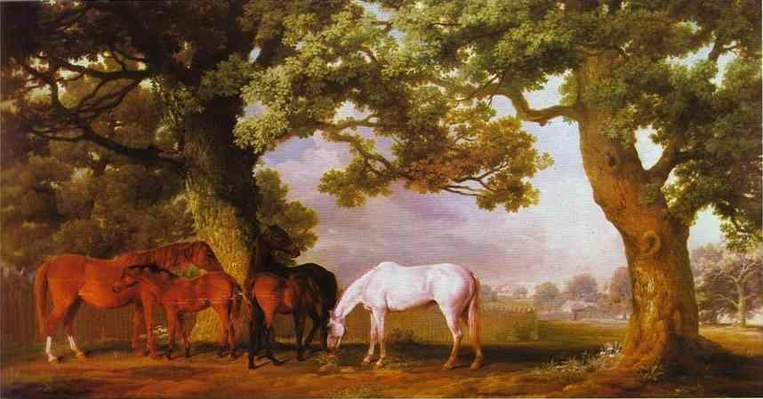 George Stubbs. Mares and Foals in a Wooded Landscape.