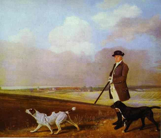 George Stubbs. Sir John Nelthorpe at Shooting with Two Pointers.