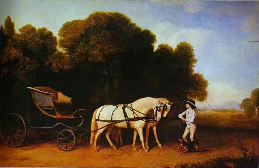 George Stubbs. Park Phaeton with a Pair of Cream Pontes in Charge of a Stable Lad with a Dog.