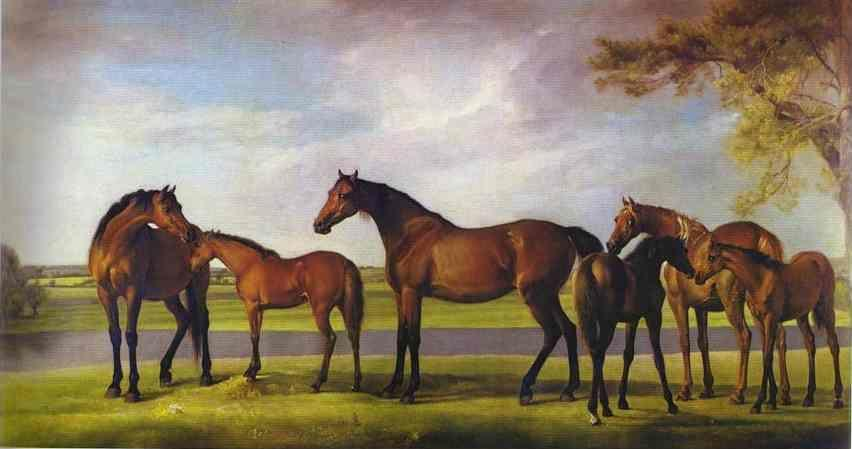 George Stubbs. Mares and Foals Disturbed by an Approaching Storm.