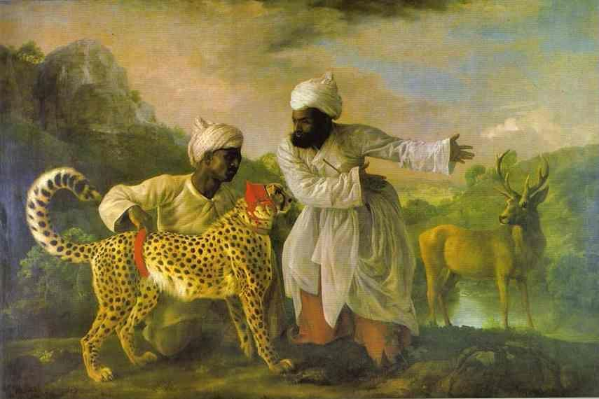George Stubbs. Cheetah with Two Indian Attendants and a Stag.