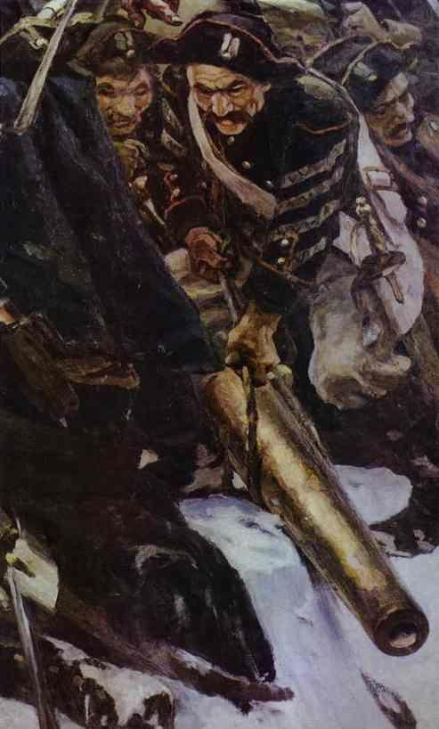 Vasily Surikov. Russian Troops under Suvorov Crossing the Alps. Detail.