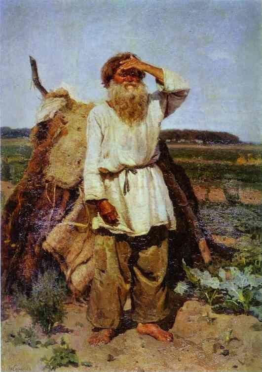 Vasily Surikov. Old Man in His Vegetable Garden.