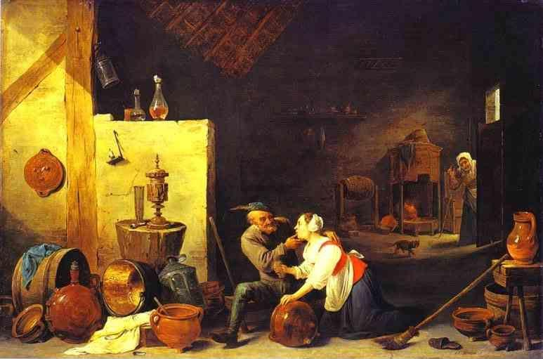 David Teniers the Younger. An Old Peasant Caresses a Kitchen Maid in a Stable.
