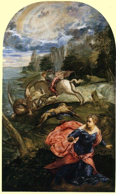 Jacopo Robusti, called Tintoretto. Saint George, the Princess and the Dragon.