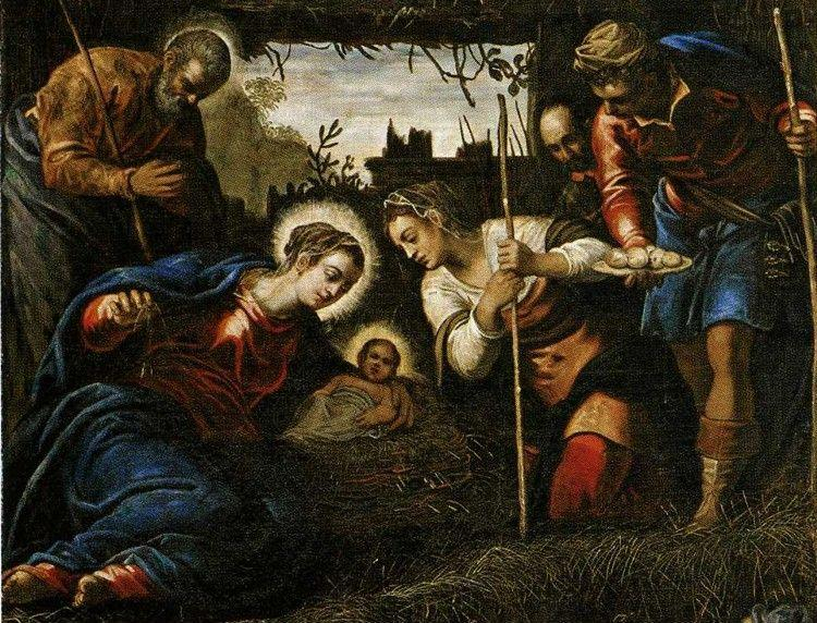 Jacopo Robusti, called Tintoretto with Domenico Tintoretto. Adoration of the Shepherds. Detail.