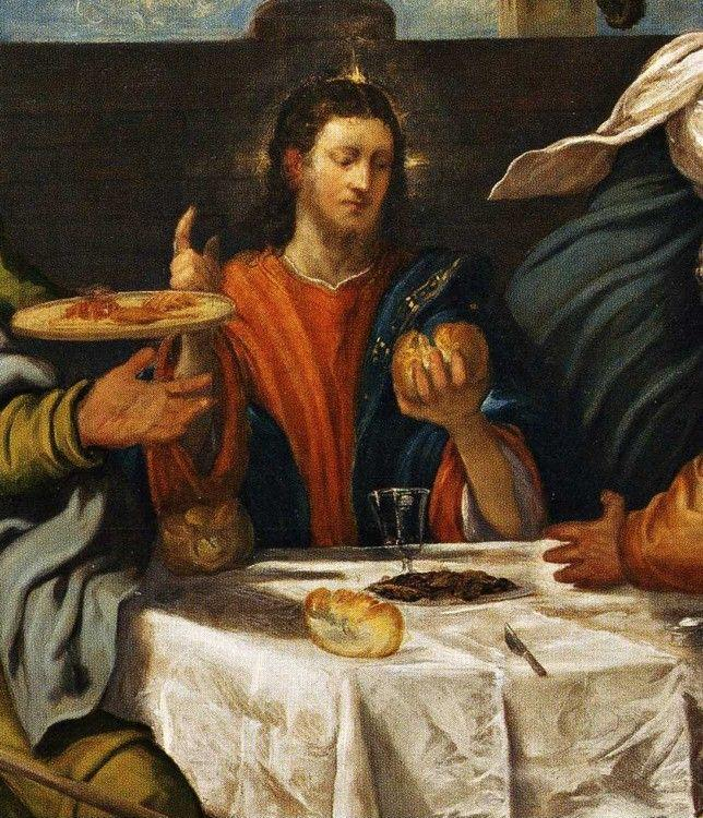 Jacopo Robusti, called Tintoretto. Supper at Emmaus. Detail.