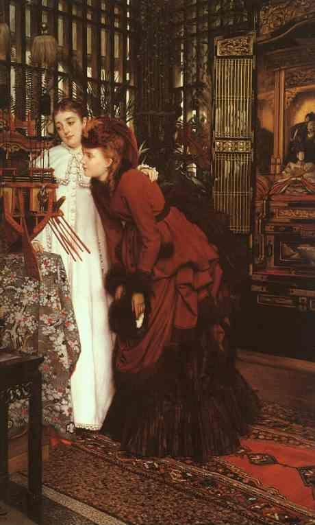 James Tissot. Young Ladies Looking at Japanese Objects.