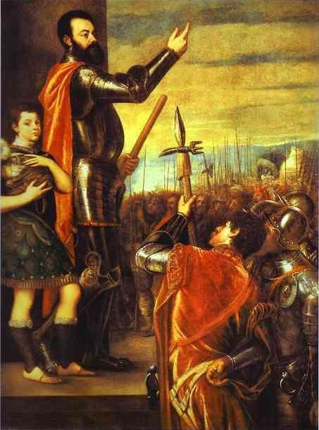 Titian. Alfonso di'Avalos Addressing his Troops.
