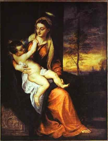 Titian. Madonna and Child in an Evening Landscape.