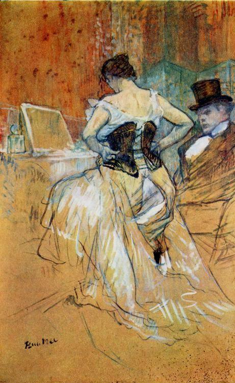 Henri de Toulouse-Lautrec. Study for t. Elles: Woman in a Corse.
