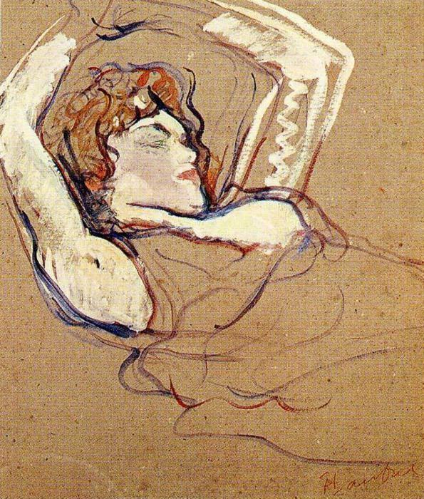 Henri de Toulouse-Lautrec. Woman Lying on Her Back, Both Arms Raised.