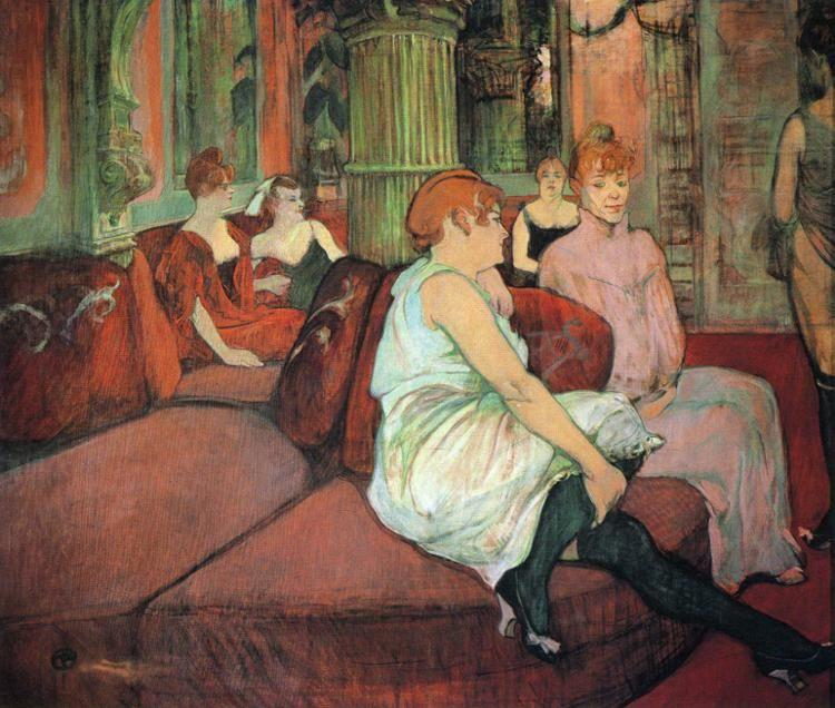 henri de toulouse lautrec au salon de la rue des moulins in the salon at the rue des moulins. Black Bedroom Furniture Sets. Home Design Ideas