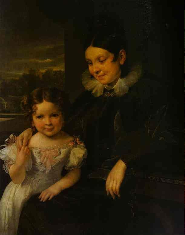 Vasily Tropinin. Portrait of V. I. Yershova with Her Daughter.