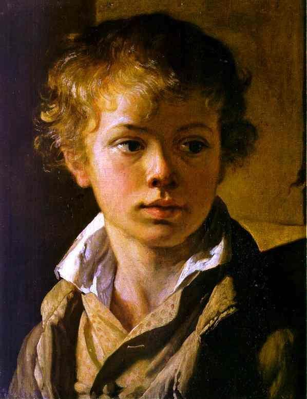 Vasily Tropinin. Head of a Boy. Portrait of A. V. Tropinin.