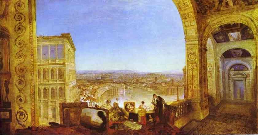 William Turner. Rome, from the Vatican, Raffaelle, Accompanied by La Fornarina, Preparing His Pictures for the Decoration of the Loggia.