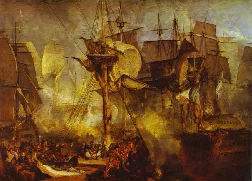William Turner. The Battle of Trafalgar, as Seen from the Mizen Starboard Shrouds of the Victory.
