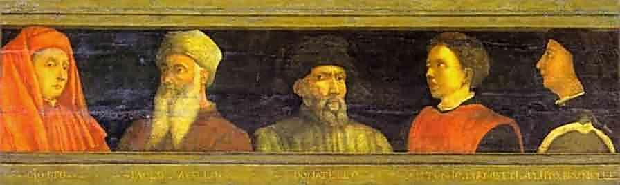 Paolo Uccello. Five Masters of the Florentine Renaissance (or Fathers of Perspective): Giotto, Uccello, Donatello, Manetti, Brunelleschi.