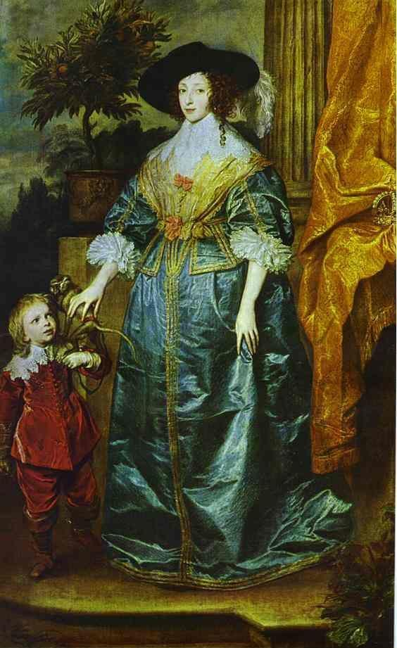 Anthony van Dyck. Queen Henrietta Maria with Sir Jeffrey Hudson.