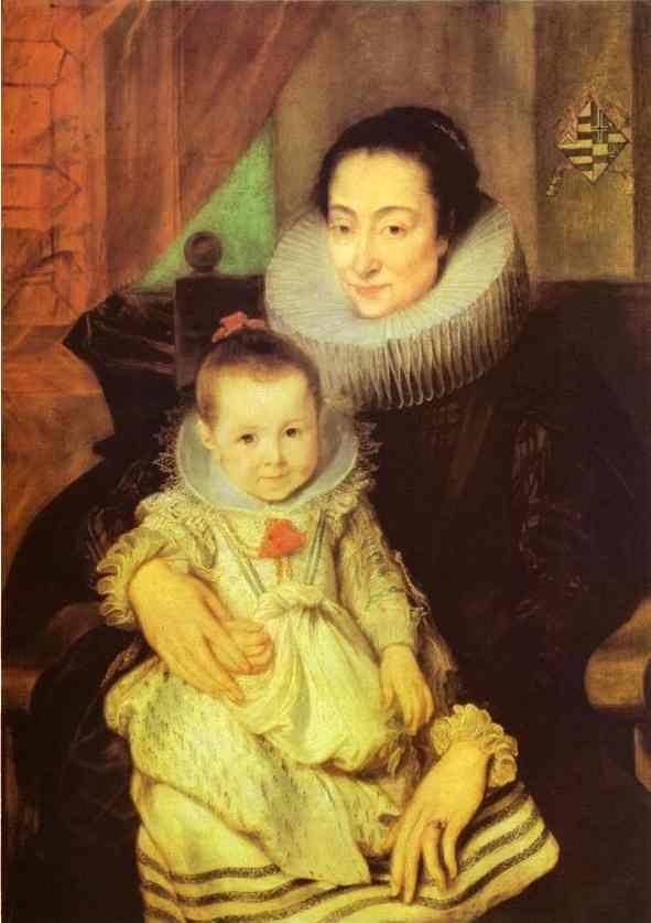 Anthony van Dyck. Marie Clarisse, Wife of Jan Woverius, with Their Child.