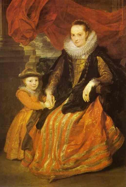 Anthony van Dyck. Portrait of Susanna Fourment and Her Daughter.