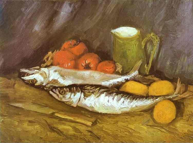 Vincent van Gogh. Still Life with Mackerels, Lemons and Tomatoes.