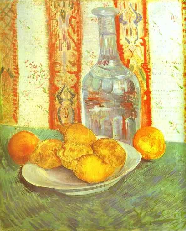Vincent van Gogh. Still Life with Bottle and Lemons on a Plate.