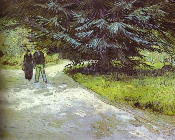 Vincent van Gogh. Park with a Couple and a Blue Fir Tree.