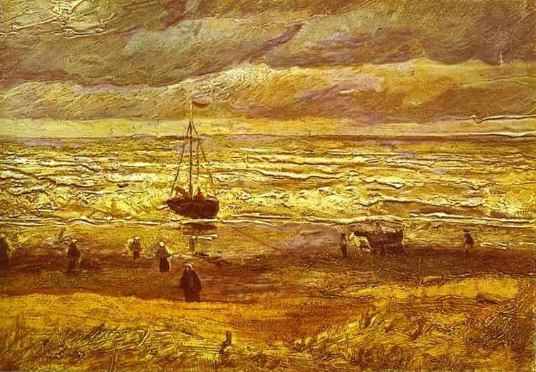 Vincent van Gogh. Beach with Figures and Sea with a Ship.