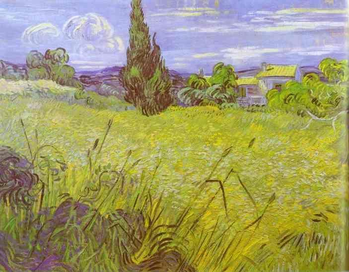 Vincent van Gogh. Green Wheat Field with Cypress. Saint-Rémy.