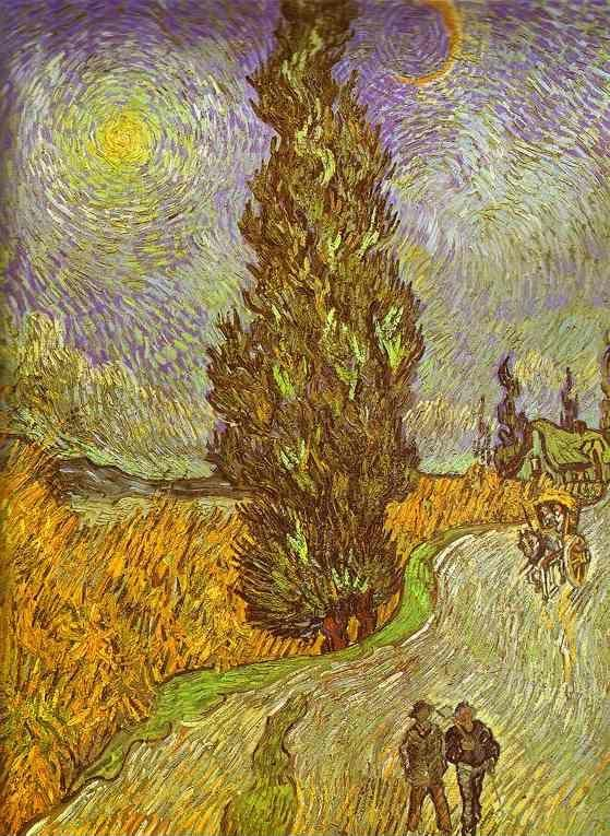 Vincent van Gogh. Road with Man Walking, Carrige, Cypress, Star and Crescend Moon.