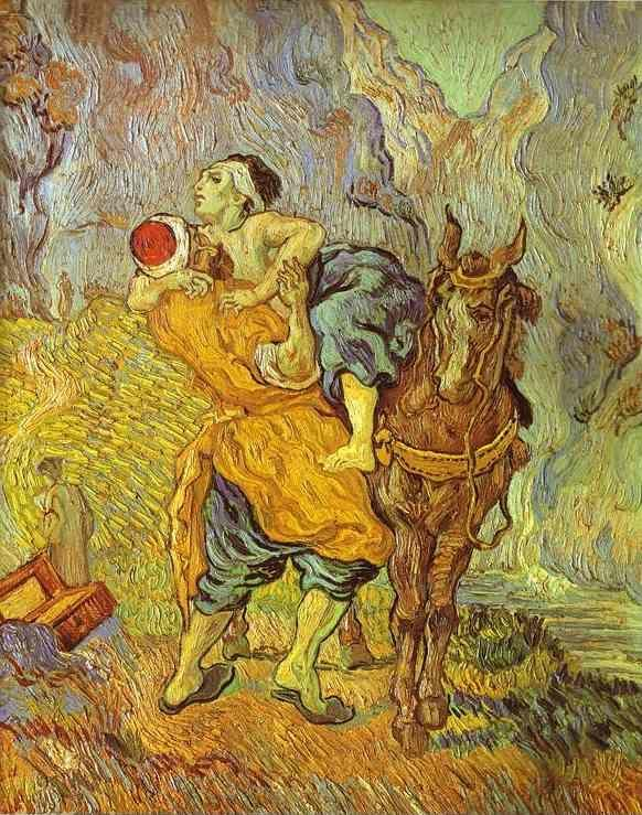 Vincent van gogh the good samaritan after delacroix for Mural van gogh